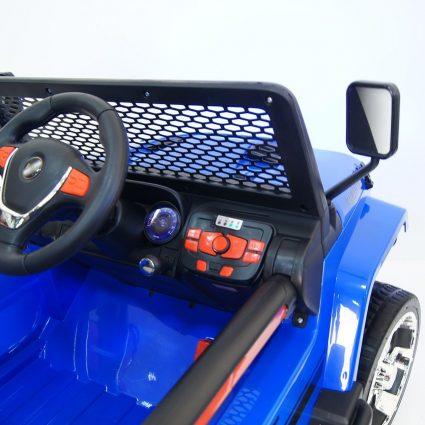 Электромобиль Jeep T008TT синий (2х местный, задний привод, колеса резина, кресло кожа, пульт музыка)