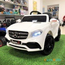 Электромобиль Mercedes Style 12V - HL-1558 белый (колеса резина, сиденье кожа, пульт, музыка)